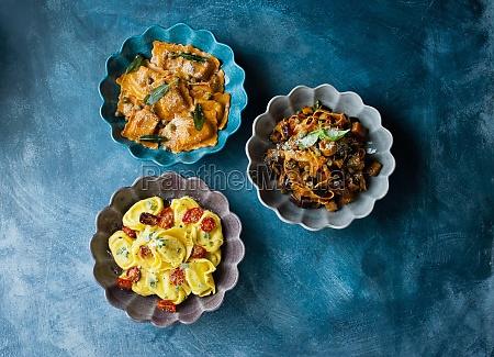 pasta selection ravioli tortellini and