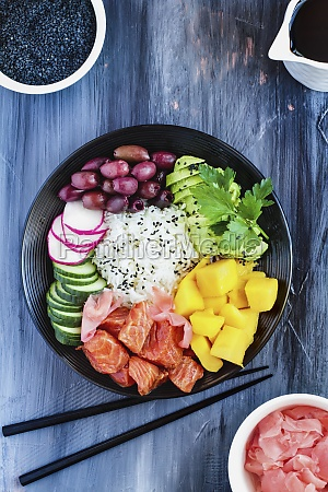 hawaiian poke bowl with basmati rice