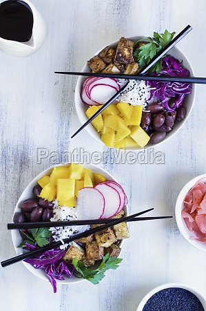 vegan poke bowl with basmati rice