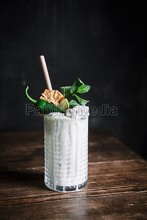 pineapple coconut milk mint and jalapeno