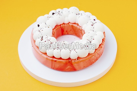 ring shaped cake with red icing