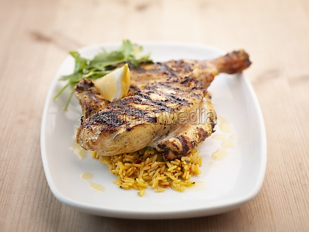tandoori chicken with saffron rice