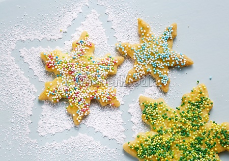 star shaped biscuits with colourful sugar