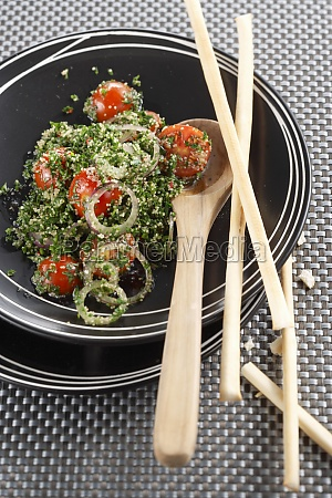 parsley salad with amaranth tomatoes onions
