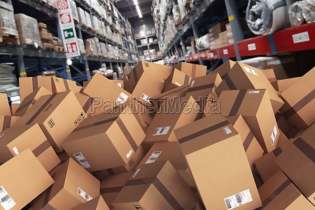 pile of cartons piled on the