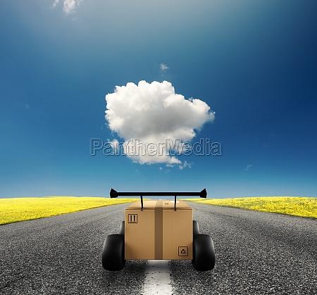 priority cardboard box with racing wheels