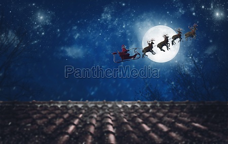 santa claus on his sleigh pulled