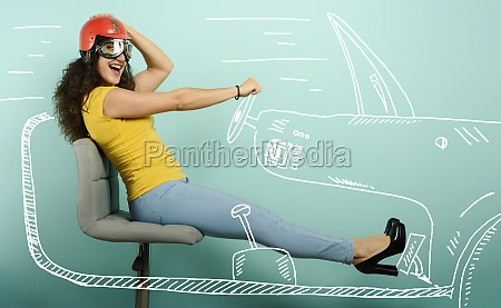 woman with red helmet thinks to