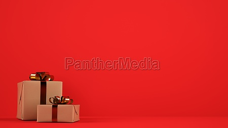 isolated christmas gift packages with golden