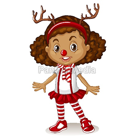 girl wearing reindeer headband and red