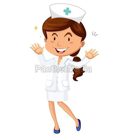 female nurse in uniform cartoon character