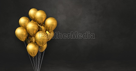 gold balloons bunch on a black