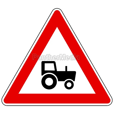tractor and attention sign