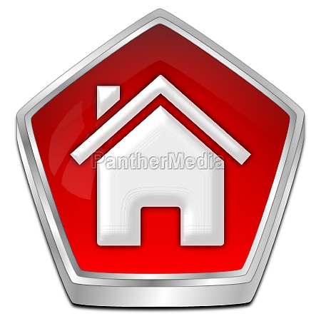 home button red 3d illustration