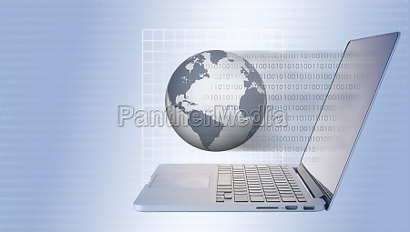 globe and laptop with binary code