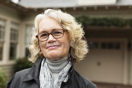 portrait of happy senior woman outside