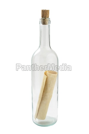 studio shot of glass bottle with
