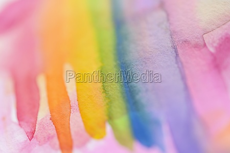 close up of watercolor rainbow