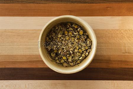loose leaf chamomile tea overhead view