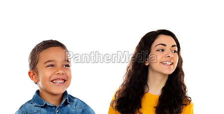 funny child with his higher sister