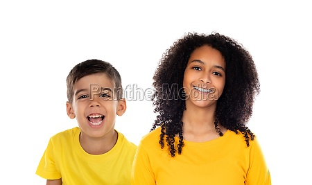 two happy children with yellow t