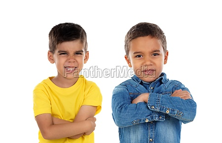 two funny children pretending to be