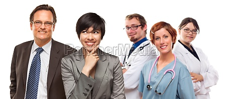 mixed race women and businessman with