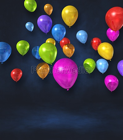 colorful balloons group on a black
