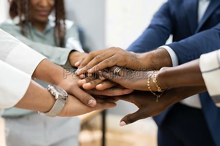 african business team hands