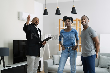 agent showing new real estate to
