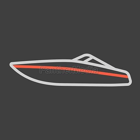 speedboat flat vector icon design isolated