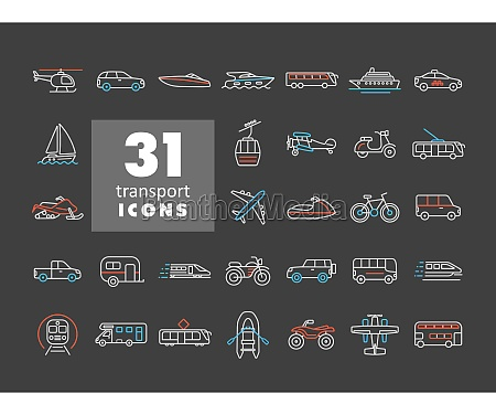 transportation vector flat icon set isolated