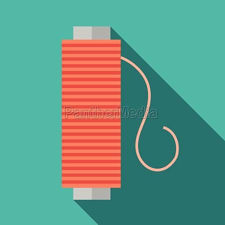 bobbin of red thread icon flat