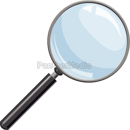 magnifying glass icon in cartoon style