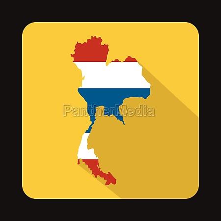 map of thailand in thai flag