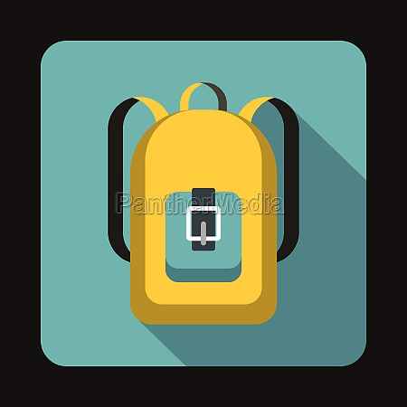 yellow backpack icon in flat style