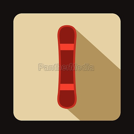 red snowboard sport board icon flat