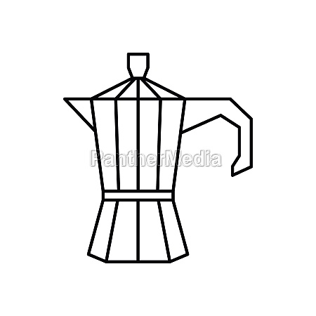 steel retro coffee pot icon outline