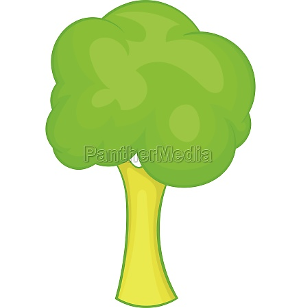 green tree icon cartoon style