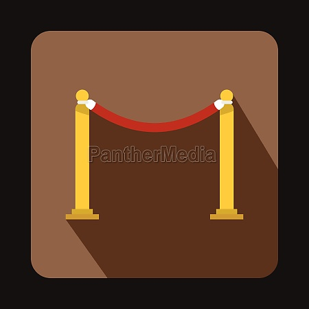 red barrier rope icon flat style