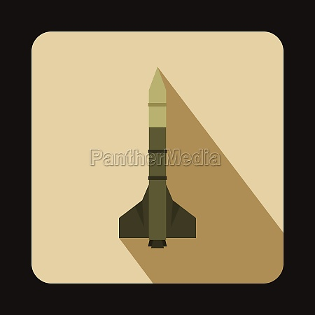 military rocket weapon icon flat style