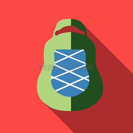 green backpack icon flat style