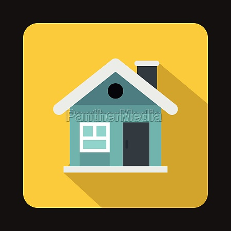 small blue cottage icon flat style