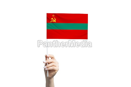 beautiful female hand holding transnistria flag