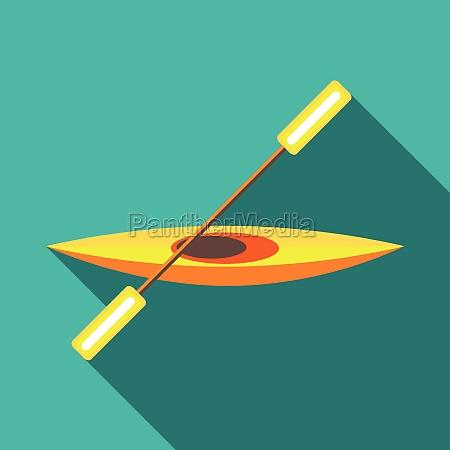 canoe icon in flat style