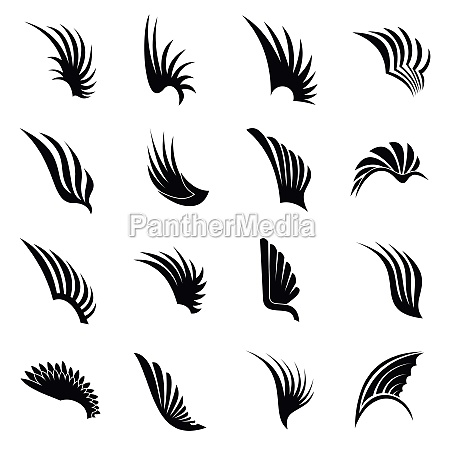 wing icons set simple ctyle