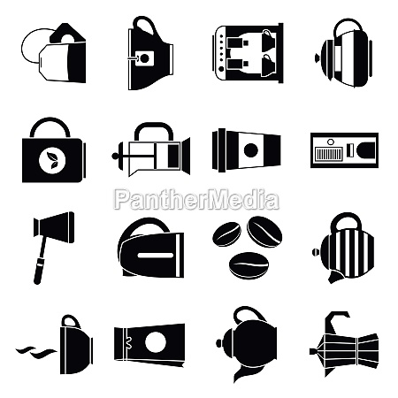 tea and coffee icons set simple
