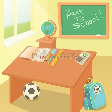 school classroom in cartoon style