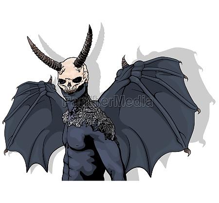 dark horned demon with wings