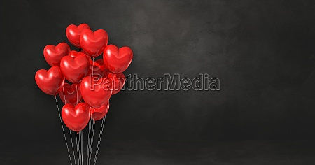 red heart shape balloons bunch on